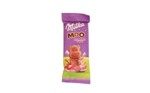 Milka, Moo Raspberry Creme, mleczna czekoladka z żelem malinowym i mlecznym nadzieniem malinowym, copyright Olga Kublik