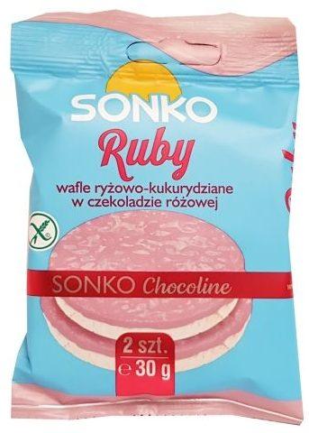 Sonko, Ruby Wafle ryżowo-kukurydziane w czekoladzie różowej, copyright Olga Kublik