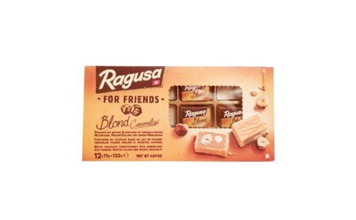 Camille Bloch, Ragusa Blond Caramelise For Friends, czekoladki nugatowe z orzechami, biała czekolada karmelowa, copyright Olga Kublik
