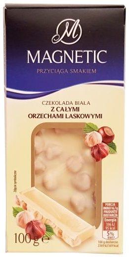 Millano-Baron, Magnetic Czekolada biała z całymi orzechami laskowymi z Biedronki, copyright Olga Kublik