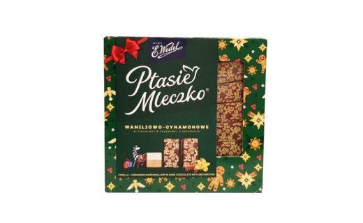 Wedel, Ptasie Mleczko waniliowo-cynamonowe w czekoladzie deserowej z dekoracją na Boże Narodzenie, copyright Olga Kublik