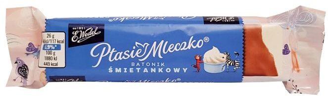 Wedel, Ptasie Mleczko batonik śmietankowy w mlecznej czekoladzie, copyright Olga Kublik
